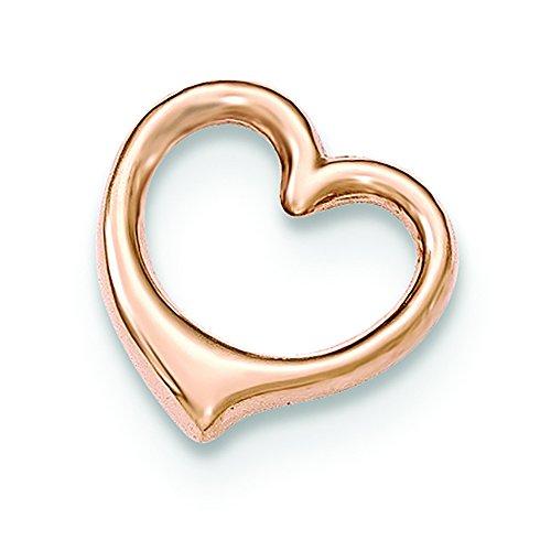 - 14K Rose Gold Floating Heart Charm Slide Pendant