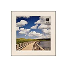 BorderTrends Echo 6x6-Inch Square Wall Photo Frame, Cloud White with Silver Edges