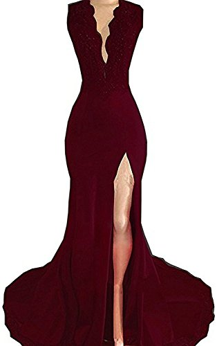Katharina Shop Women's Sheer V-Neck Long Lace Applique Prom Dress Long Sleeve Beaded Formal Evening Gown 2018 KS124