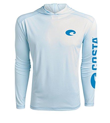 Costa Del Mar Men's Hooded Technical Long Sleeve Shirt-Artic Blue-Medium