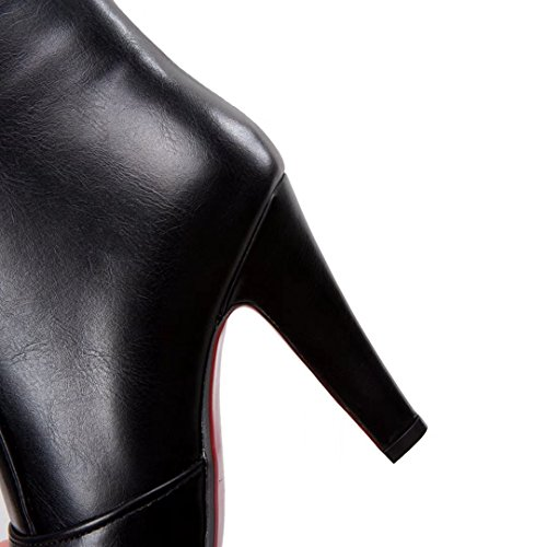 AIYOUMEI Damen Herbst Winter Stilettos Kurz Stiefel mit 10cm Absatz High Heels Stiefeletten Schwarz