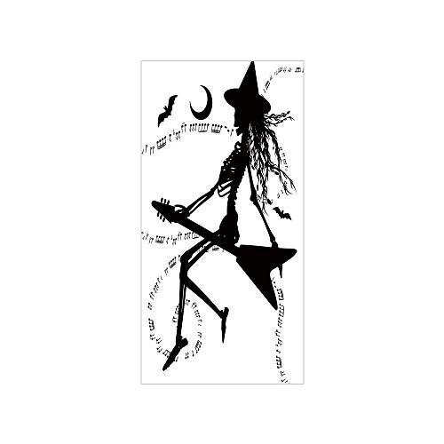 3D Decorative Film Privacy Window Film No Glue,Music,Witch Flying on Electric Guitar Notes Bat Magical Halloween Artistic Illustration,Black White,for Home&Office