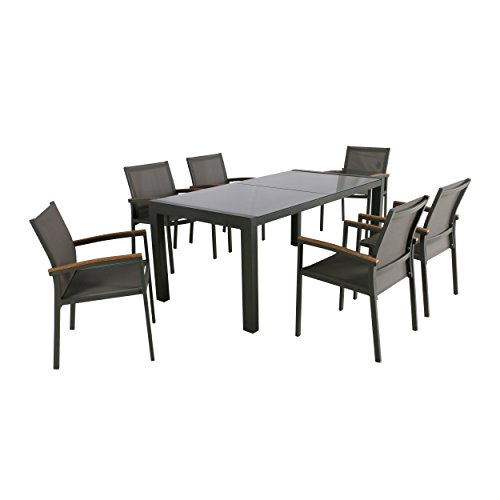 Christopher Knight Home Jamie Outdoor Aluminum and Mesh 7 Piece Dining Set with Glass Table Top, Gray and Gray