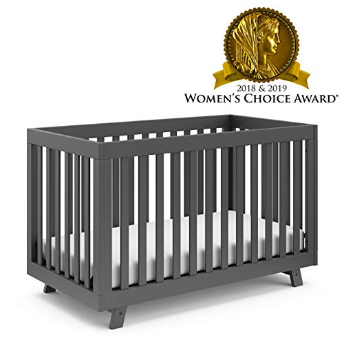 Stork Craft Storkcraft Beckett 3-in-1 Convertible Crib Fixed Side Crib, Solid Pine & Wood Product Construction, Converts to Toddler Bed Day Bed or Full Bed (Mattress Not Included), Gray