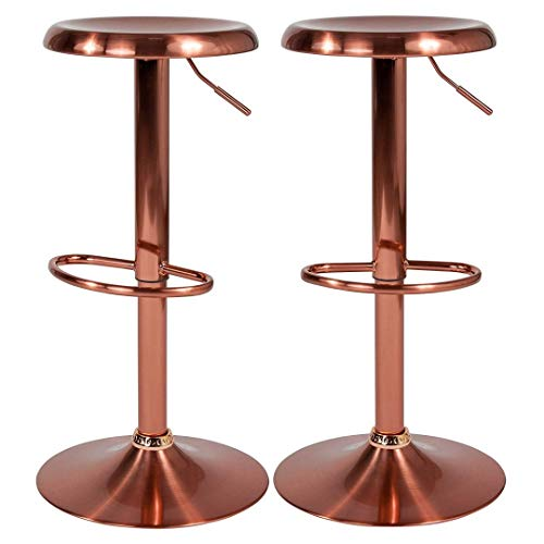Contemporary Classic Design Metal Dining Round Backless Bar Stools Adjustable Height Swivel Seat Lounge Restaurant Diner Commercial Home Office Furniture - (1) Rose Gold #2205 by KLS14 (Image #5)