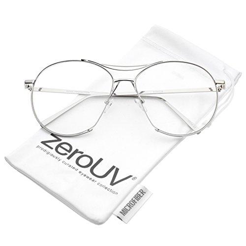 zeroUV - Oversize Semi-Rimless Brow Bar Round Clear Flat Lens Aviator Eyeglasses 59mm ()