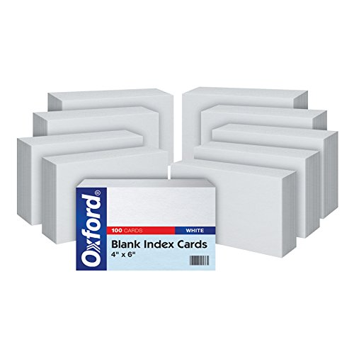 "Oxford Blank Index Cards, 4"" x 6"", White, 10 Packs of 100 (40EE)"