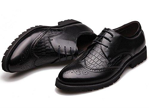 WZG zapatos de vestir de negocio de los nuevos hombres tallan los zapatos de cuero de cocodrilo Bullock zapatos zapatos de la boda de los hombres negros 9,5 Black