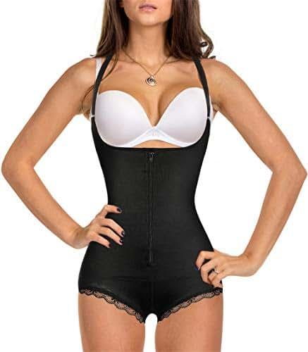 Eleady Women's Latex Waist Trainer Bodysuit Tummy Control Shapewear Full Body Shaper Open Bust Corset