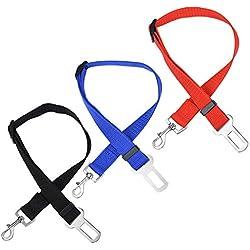 Dog Seatbelt, Adjustable Pet Car Safety Seat Belt Nylon Dogs Leads Vehicle Seatbelts, 3 Pack
