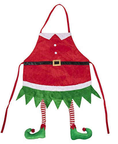 Juvale Christmas Elf Apron - Holiday Santa Elf Kitchen Chef Apron with Hanging Legs Design, for Cooking and Baking, Festive Gag Gift, White Elephant Gift for Unisex Adults, Red, 35 x 23 Inches