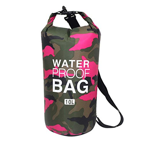 CHUNKUNA 10L Camouflage PVC Polyester Waterproof Dry Bag Roll Top Sack Keeps Gear Dry for Kayaking/Camping/Fishing/Canoeing and Hiking with Waterproof Phone Case (Hot Pink)