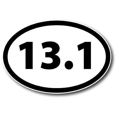 13.1 Half Marathon Black Oval Car Magnet Decal Heavy Duty Waterproof: Automotive