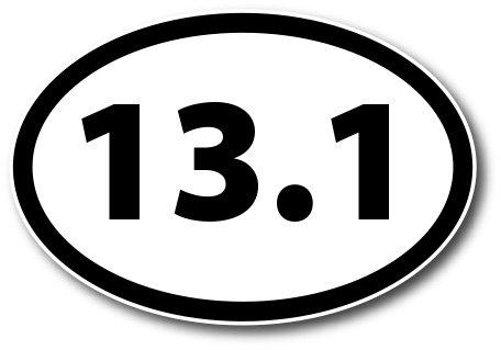 13.1 Half Marathon Black Oval Car Magnet Decal Heavy Duty (Oval Car)