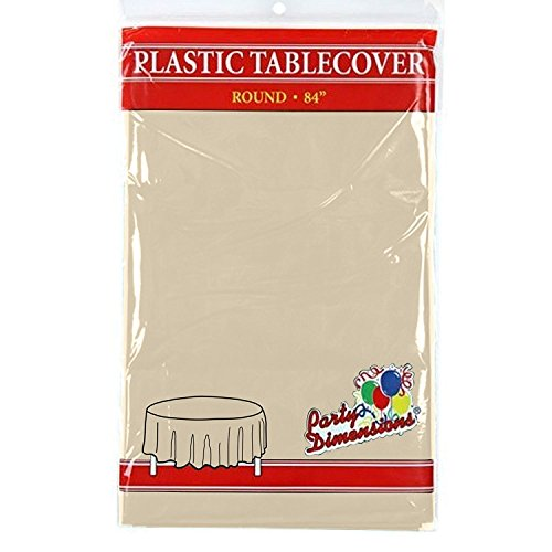 (Ivory Round Plastic Tablecloth - 4 Pack - Premium Quality Disposable Party Table Covers for Parties and Events - 84