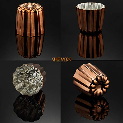 CHEFMADE Copper Canele Mold, 2-Inch Non-Stick Cannele Muffin Cup, FDA Approved Tinned Interior Made In Italy