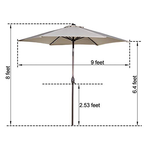 Abba Patio Outdoor Patio Umbrella 9-Feet Aluminum Market Table Umbrella with Push Button Tilt and Crank, Beige