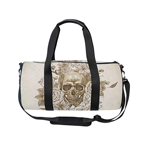 (MUOOUM Suger Skull Day Dead Rose Sports Gym Bag Travel Duffel Bag for Women and Men Luggage)