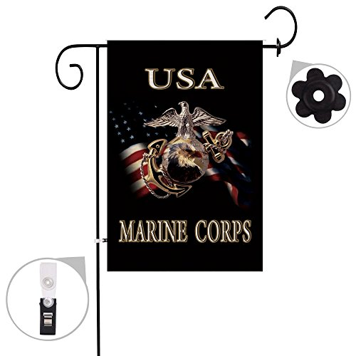 Bonsai Tree Burlap Marine Corps Spring Garden Flags 12x18 Prime Double-Sided Seasonal USMC Outdoor Decorative Flag Banner Stopper & Anti-Wind Clip