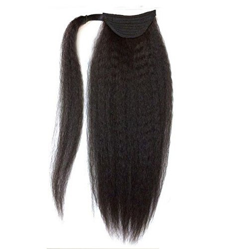 Brazilian Kinky Straight Yaki Human Hair Ponytail Extensions Natural Black 12-24inch (18