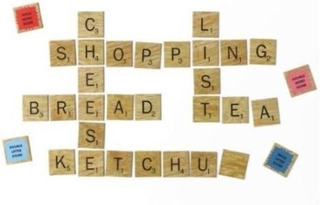 Wild and Wolf completo Juego Scrabble Frigorífico imanes para frigorífico ABC letras Azulejos, jardín, césped, Mantenimiento: Amazon.es: Hogar