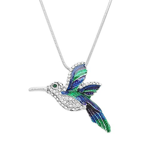 Falari Hummingbird and Other Birds Pendant Necklace Rhinestone Crystal Rhodium High Polished - Polished Hummingbird Pendant