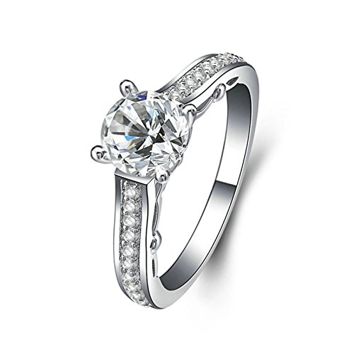 Adisaer Free Engraving Silver Plated Mothers Ring Engraved Special Gift Round with White Cubic Zirconia CZ with 2 Row with White Cubic Zirconia CZ Size 6.5
