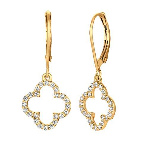 - 14k Yellow Gold 0.40ctw. Diamond Clover Earrings