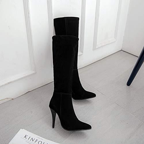 Langschaft Reißverschluss Party Aisun Schwarz Spitzen Stiefel Mit Damen Pfennigabsatz Modern qZZI68