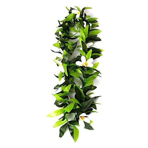 cheerfullus Hawaii Leaf Lei Garland Hawaiian Luau Tropical Flower Wreath Beach Theme Party Supplies,White]()