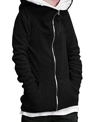 Fleece Hoodie Long Allegra Slant S Ladies Pockets Zip K Up Black Sleeve Front wOWqpHWC