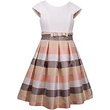 Bonnie Jean Big Girl's 7-16 Cap Sleeve Metallic Stripe Party Dress