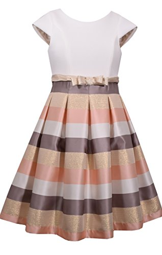 Bonnie Jean Cap Sleeve Jeans (Bonnie Jean Big Girl's 7-16 Cap Sleeve Metallic Stripe Party Dress (12, Ivory))
