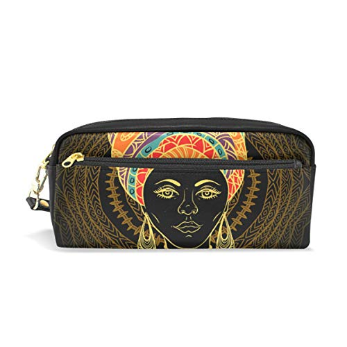 (Pencil Case Big Capacity Pencil Bag Makeup Pen Pouch Beautiful African Woman Durable Students Stationery Pen Holder for School/Office)