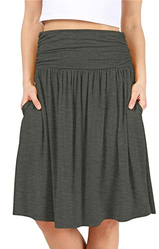Simlu Best Womens Regular and Plus Size Skirt with Pockets Below The Knee Length Ruched Flowy Skirt Midi Skirt for Women in USA 2021