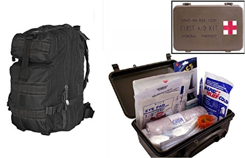 Ultimate Arms Gear Level 3 Assault Molle Black Backpack Kit   First Aid Trauma Kit General Purpose In Waterproof Carrying Storage Case  Usa Made  Fully Stocked 58 Piece Kit