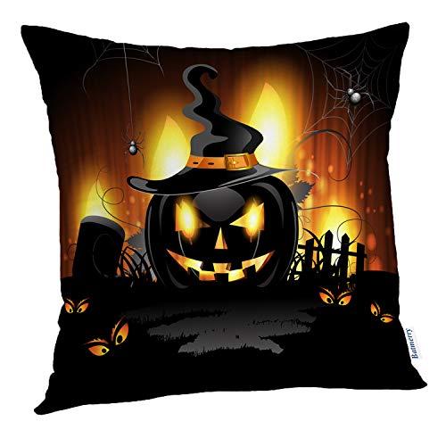 Batmerry Halloween Pillow Covers 18x18 inch,Halloween Cemetery Ghost Food Art Autumn Black Blue Bright Classic Throw Pillows Covers Sofa Cushion Cover Pillowcase]()