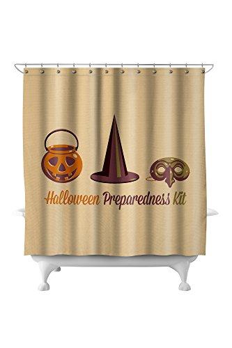 Halloween Preparedness Kit - Gear Up - Retro Halloween (71x74 Polyester Shower Curtain)