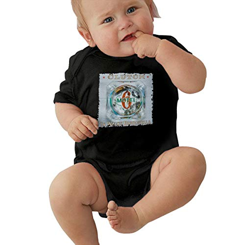 Xuanuan Clutch Band in Walks Barbarella Baby Boy's Girl's Short Sleeve Baby OnesieCartoon Simple Black 6M