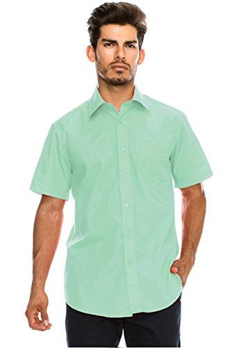 JC DISTRO Men's Regular-Fit Solid Color Short Sleeve Dress Shirt, Aqua Shirts (5XL)