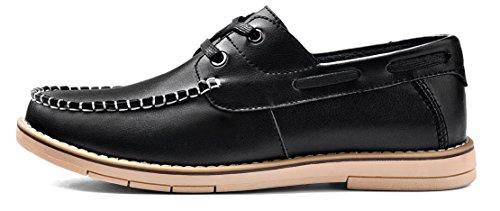 MOHEM Men's Comfort Driving Car Soft Flats Loafers Casual Boat Shoes(1687028Black47)