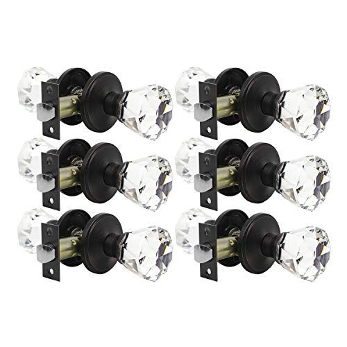 Classic Tulip Crystal Door Knobs Set of 6, Passage Function for Hall and Closet, Athena Collection, Oil Rubbed Bronze