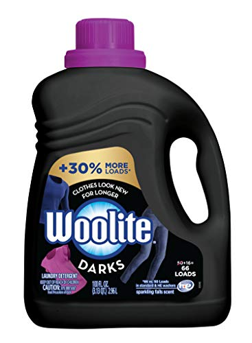 Woolite DARKS Liquid Laundry Detergent, 66 Loads, 100oz, Regular & HE Washers, Dark & Black Clothes & Jeans, midnight breeze scent, packaging may vary