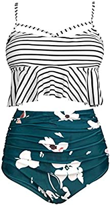 Gabrielle-Aug Women's Retro Two Pieces High Waisted Ruffle Bikini Set Flounce Falbala Swimwear Bathing Suit