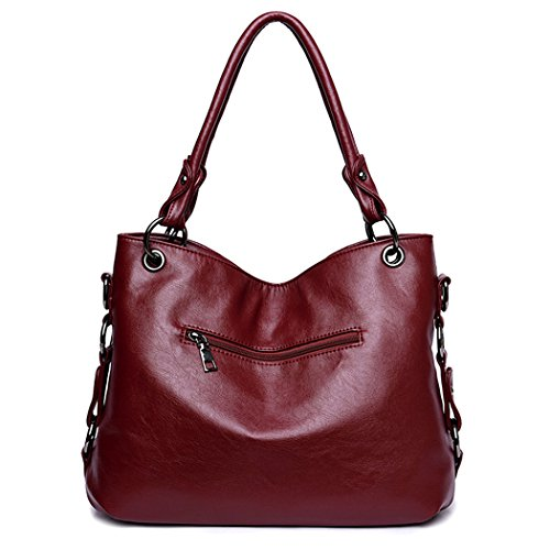 PU Women's Tote Top Purse Shoulder Bag Handbags Tassel Burgundy Bag Handle Leather Fanspack Pendant with Crossbody tHRdqqx