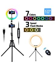 "$32 » LED Ring Light with Stand & Remote Control, SXIYA 10"" Selfie Circle Lights Dimmable 10 Colors RGB Ringlight for Photography, Makeup, YouTube, Live Stream, Video, Compatible with iPhone, Android"