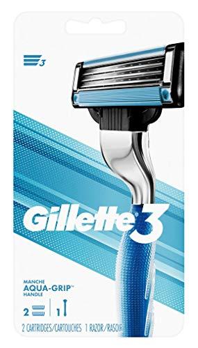 Gillette Mens 3 (1 Razor) + 2 Cartridges (Aqua-Grip) (2 Pack)