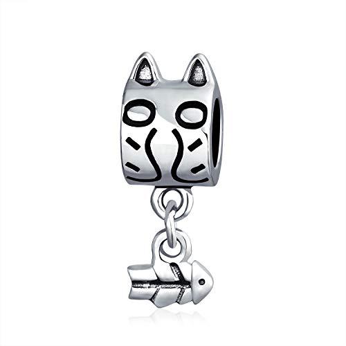 Cat And Dangling Fishbone Kitten Kitty Pet Lover Charm Bead For Women Teen 925 Sterling Silver Fits European Bracelet