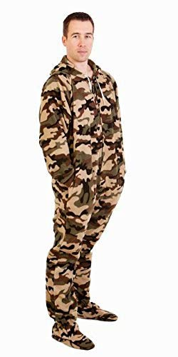 Forever Lazy Footed Adult Onesie - Green Comatose Camo - XS (Adult Onesies That Snap)