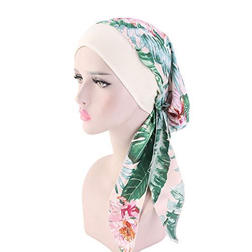 Vintage Women Elastic Wide Band Head Scarf Cotton Turbans Print Bonnet Multifunction Night Sleep Hat Chemo Hair Loss Wrap Cap (I) But I Vintage Bonnet